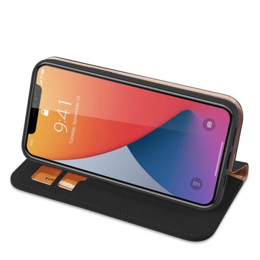 iPhone 12 mini kaaned päris nahast kaarditasku rahataskuga DUX DUCIS Wish must 3