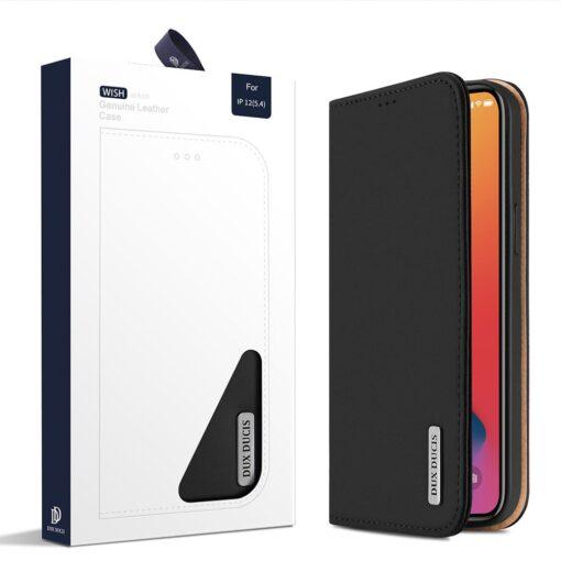 iPhone 12 mini kaaned päris nahast kaarditasku rahataskuga DUX DUCIS Wish must 4