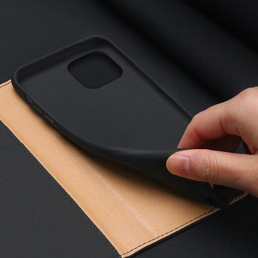 iPhone 12 mini kaaned päris nahast kaarditasku rahataskuga DUX DUCIS Wish must 5