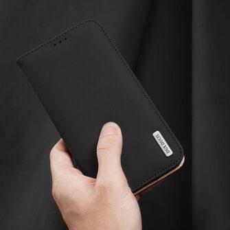 iPhone 12 mini kaaned päris nahast kaarditasku rahataskuga DUX DUCIS Wish must 7