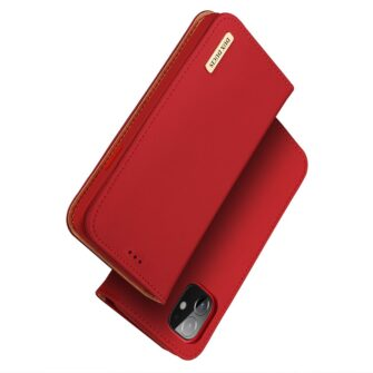 iPhone 12 mini kaaned päris nahast kaarditasku rahataskuga DUX DUCIS Wish punane 1