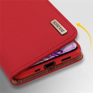 iPhone 12 mini kaaned päris nahast kaarditasku rahataskuga DUX DUCIS Wish punane 12