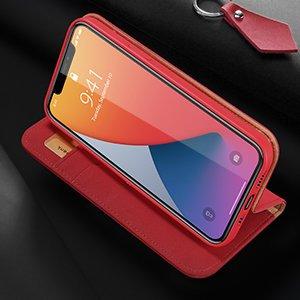iPhone 12 mini kaaned päris nahast kaarditasku rahataskuga DUX DUCIS Wish punane 16