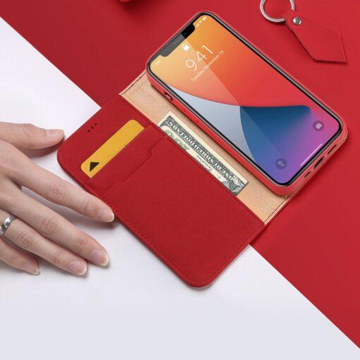 iPhone 12 mini kaaned päris nahast kaarditasku rahataskuga DUX DUCIS Wish punane 2