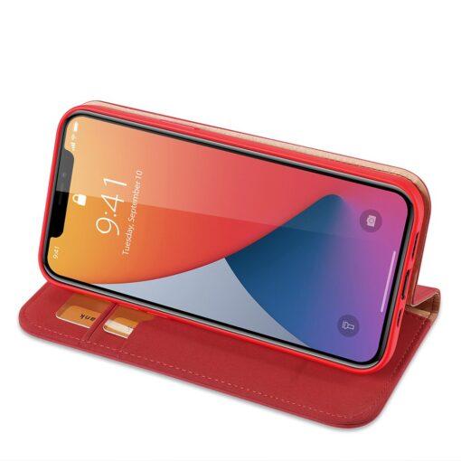 iPhone 12 mini kaaned päris nahast kaarditasku rahataskuga DUX DUCIS Wish punane 3