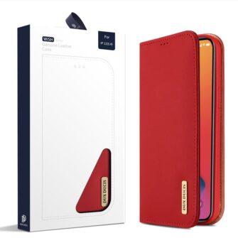 iPhone 12 mini kaaned päris nahast kaarditasku rahataskuga DUX DUCIS Wish punane 4