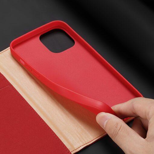 iPhone 12 mini kaaned päris nahast kaarditasku rahataskuga DUX DUCIS Wish punane 5