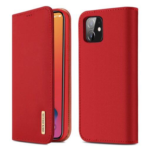 iPhone 12 mini kaaned päris nahast kaarditasku rahataskuga DUX DUCIS Wish punane