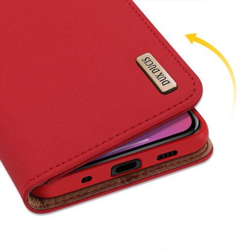 iPhone 12 mini kaaned päris nahast kaarditasku rahataskuga DUX DUCIS Wish punane 6