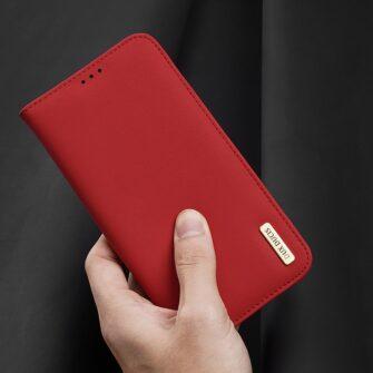 iPhone 12 mini kaaned päris nahast kaarditasku rahataskuga DUX DUCIS Wish punane 7