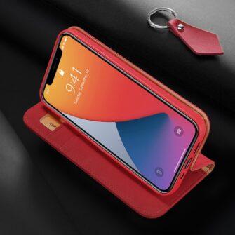 iPhone 12 mini kaaned päris nahast kaarditasku rahataskuga DUX DUCIS Wish punane 8
