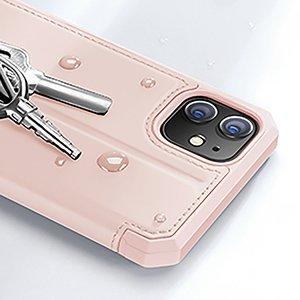 iPhone 12 mini kunstnahast kaaned kaarditaskuga DUX DUCIS Skin X roosa 12