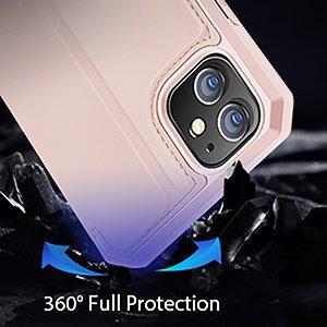 iPhone 12 mini kunstnahast kaaned kaarditaskuga DUX DUCIS Skin X roosa 14