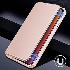 iPhone 12 mini kunstnahast kaaned kaarditaskuga DUX DUCIS Skin X roosa 15