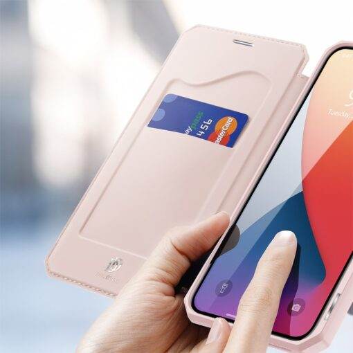 iPhone 12 mini kunstnahast kaaned kaarditaskuga DUX DUCIS Skin X roosa 2