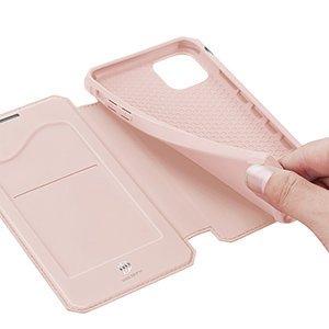 iPhone 12 mini kunstnahast kaaned kaarditaskuga DUX DUCIS Skin X roosa 21