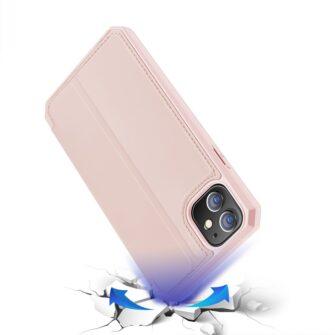 iPhone 12 mini kunstnahast kaaned kaarditaskuga DUX DUCIS Skin X roosa 3