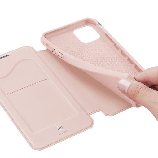 iPhone 12 mini kunstnahast kaaned kaarditaskuga DUX DUCIS Skin X roosa 5
