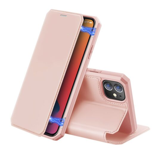 iPhone 12 mini kunstnahast kaaned kaarditaskuga DUX DUCIS Skin X roosa