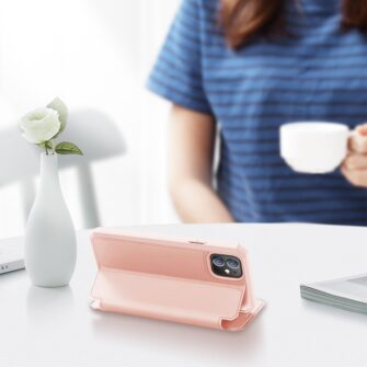 iPhone 12 mini kunstnahast kaaned kaarditaskuga DUX DUCIS Skin X roosa 6