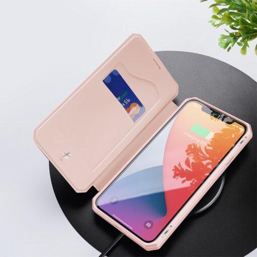 iPhone 12 mini kunstnahast kaaned kaarditaskuga DUX DUCIS Skin X roosa 7