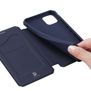 iPhone 12 mini kunstnahast kaaned kaarditaskuga DUX DUCIS Skin X sinine 20