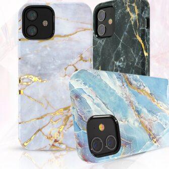 iPhone 12 mini umbris Kingxbar Marble Seeria sinine 2