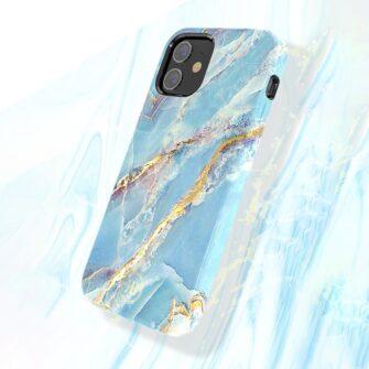 iPhone 12 mini umbris Kingxbar Marble Seeria sinine 5