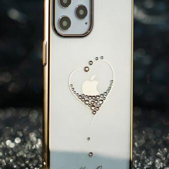 iPhone 12 mini umbris Kingxbar Wish elastsest plastikust Swarowski kristallikestega kuldne 11