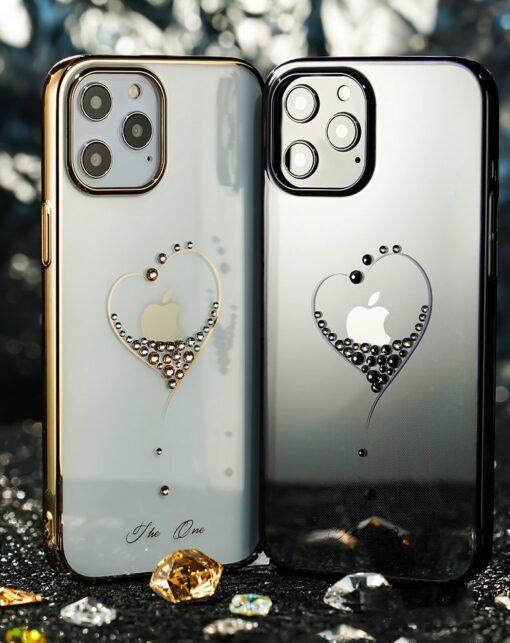 iPhone 12 mini umbris Kingxbar Wish elastsest plastikust Swarowski kristallikestega kuldne 12