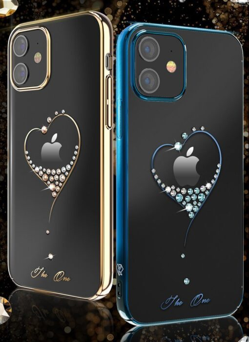 iPhone 12 mini umbris Kingxbar Wish elastsest plastikust Swarowski kristallikestega kuldne 2