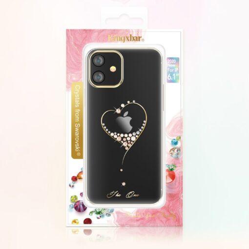 iPhone 12 mini umbris Kingxbar Wish elastsest plastikust Swarowski kristallikestega kuldne 4