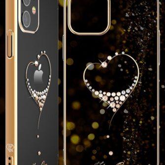 iPhone 12 mini umbris Kingxbar Wish elastsest plastikust Swarowski kristallikestega kuldne 5