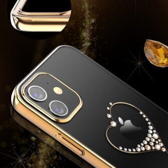 iPhone 12 mini umbris Kingxbar Wish elastsest plastikust Swarowski kristallikestega kuldne 6