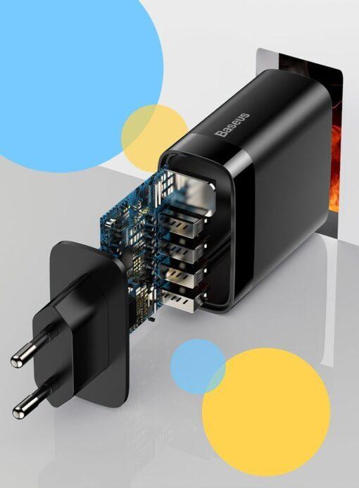 Seinalaadija 4x USB Mirror Lake Baseus 30W 6A CCJMHB B01 must 10