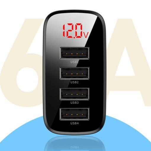 Seinalaadija 4x USB Mirror Lake Baseus 30W 6A CCJMHB B01 must 11