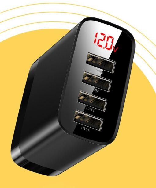 Seinalaadija 4x USB Mirror Lake Baseus 30W 6A CCJMHB B01 must 12