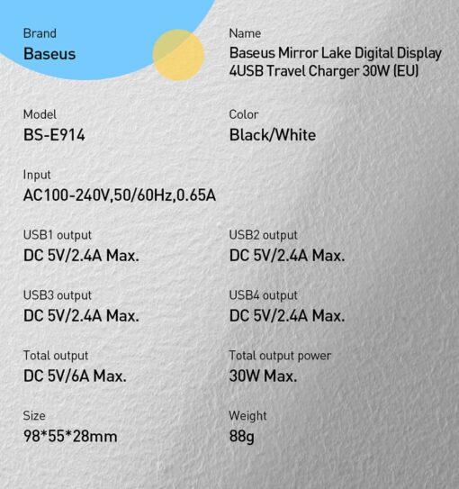 Seinalaadija 4x USB Mirror Lake Baseus 30W 6A CCJMHB B01 must 15