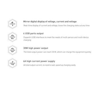Seinalaadija 4x USB Mirror Lake Baseus 30W 6A CCJMHB B02 valge 16