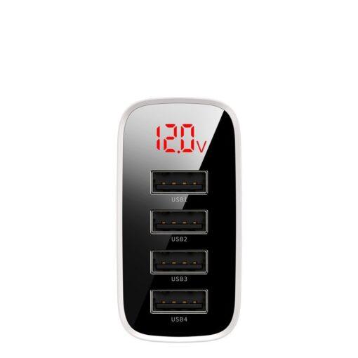 Seinalaadija 4x USB Mirror Lake Baseus 30W 6A CCJMHB B02 valge 2