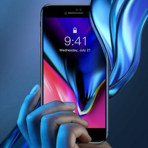 2tk iPhone SE 2020 87 kaitseklaas taisekraan sinise valguse kaitsega must 10