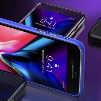 2tk iPhone SE 2020 87 kaitseklaas taisekraan sinise valguse kaitsega must 16
