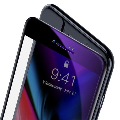 2tk iPhone SE 2020 87 kaitseklaas taisekraan sinise valguse kaitsega must