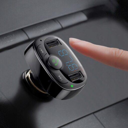 Bluetooth FM transmitter Baseus T Typed MP3 2x USB TF microSD 3.4A must CCTM 01 9