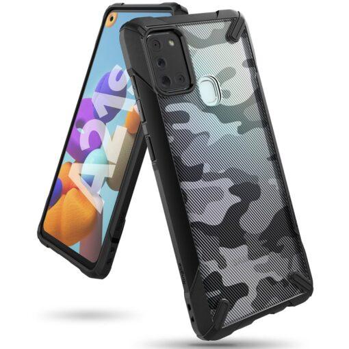 Samsung Galaxy A21S Ringke Fusion X tugev plastikust umbris silikoonist raamiga must XDSG0034