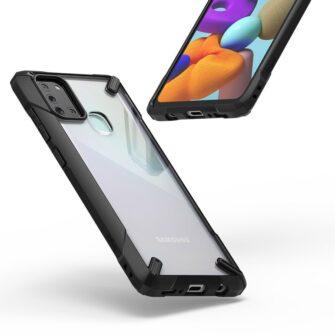 Samsung Galaxy A21S Ringke Fusion X tugev plastikust umbris silikoonist raamiga must XDSG0034 7