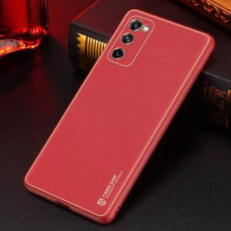 Samsung Galaxy S20 FE 5G umbris Dux Ducis Yolo elegant kunstnahast ja silikoonist servadega punane 24