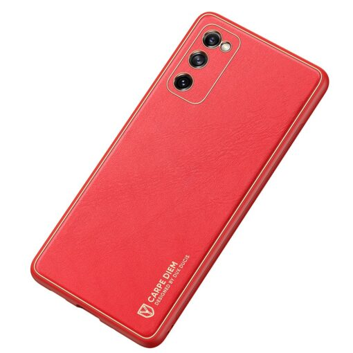 Samsung Galaxy S20 FE 5G umbris Dux Ducis Yolo elegant kunstnahast ja silikoonist servadega punane 3
