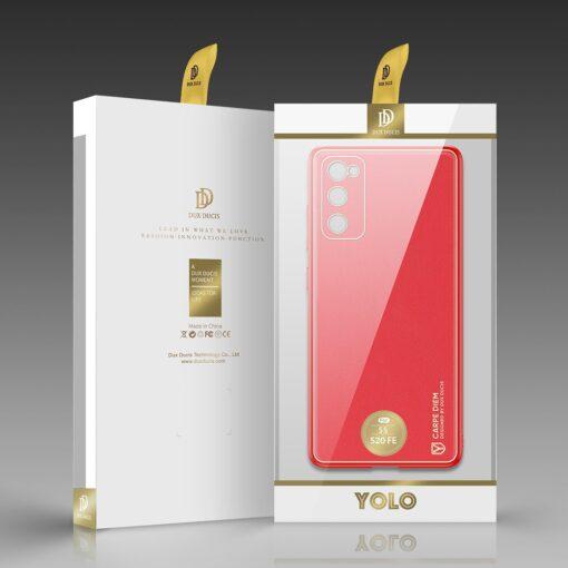 Samsung Galaxy S20 FE 5G umbris Dux Ducis Yolo elegant kunstnahast ja silikoonist servadega punane 4