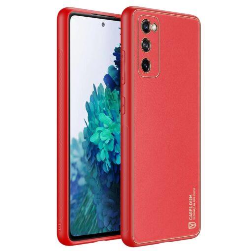 Samsung Galaxy S20 FE 5G umbris Dux Ducis Yolo elegant kunstnahast ja silikoonist servadega punane